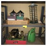 Shelving Unit Section With Bird Feeders And More
