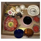 Large Lot aid Vintage Advertising Ashtrays and