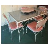 Vintage Metal Table With Matching Chairs
