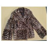 Serval fur coat with belt and headband