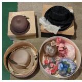 Large lot of vintage hats