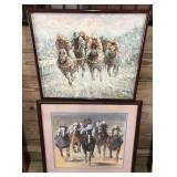 Lot Of Decorative Horse Racing Framed Art