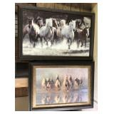 Lot Of Two Large Framed Horse Art
