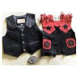 Youth leather Cowboy Vest With Belt Buckle