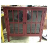 Red Decorative Glass / Wood Cabinet