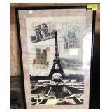 Framed Eiffel Tower Paris Art