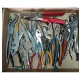 Flat of various pliers, vise grips, and more