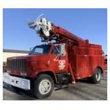 1985 GMC 7000 diesel line truck with boom