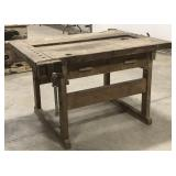 Early Primitive Wood  Work Bench w/Vise