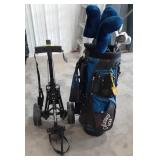 Calloway golf bag and rolling caddy with Agree