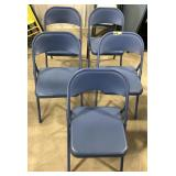 Lot of 5 Meco USA folding metal chairs