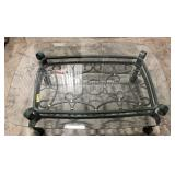 Ornate wrought iron glass top coffee table