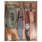 Lot of various knives and holster