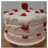 Ceramic cake stand and cover, item has no maker