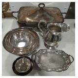 Silver tone dishes lot. Includes chaffer, mixing
