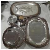 Lot of silver tone dishes and trays, misc. Lot