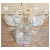 Three Glass Water Pitchers