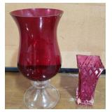 Lot Includes Large Red Vase and Small Pink Vase