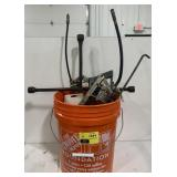 Bucket of Misc Tools Including Hand Saw, 4 Way