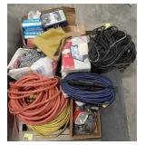 Large lot of items, extension cords, wire, hoses,