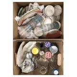 Lot of miscellaneous glassware, jars and dishes.