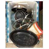 Lot of miscellaneous pot and pans, lids,