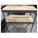 Metal and wood garage shelf unit.