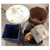 Lot of mixed lawn patio garden terra cotta and
