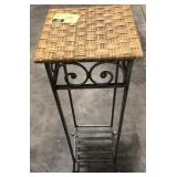 3ft tall iron and wicker plant stand pedestal.