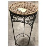 """26"""" round metal and wicker plant stand pedestal."""