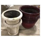 Lot of 4 large patio garden planters, plastic and