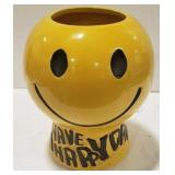"""""""Have a Happy Day"""" Ceramic Painted Flower"""