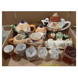 Lot of miscellaneous china tea pots and partial