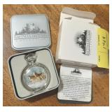 Hautman Brothers Collectible pocket watch in tin