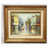 P. Rambert City Scene Framed Oil Painting