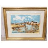 """Maurice Buffet Harbor Lithograph Approx. 26 1/2"""""""