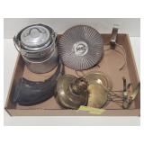Flat of Misc Items Including a Horn and Oil Lamp