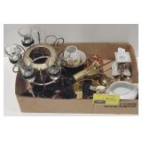 Flat of Misc Items Including a Ceramic Gravy