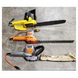Lot of 2 Shrub & Hedge Trimmers & 1 chain saw