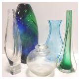 Mixed lot.of glass vases