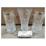 Crystal Candle Holders w/Vase
