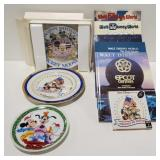 Walt Disney collection of plates, and books