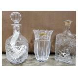 Crystal Decanters and vase
