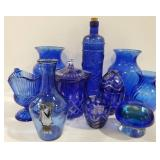 Large lot of decorative blue glass vases and more