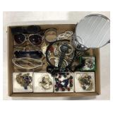 Lot of miscellaneous costume jewelry, sunglasses,