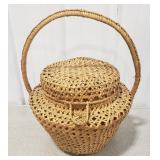 Woven Wicker Basket w/ Attached Lid