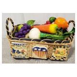 Wicker Basket Filled w/ Foam Painted Fruits