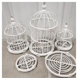 Hanging Painted Wooden Decorative Bird Cages w/