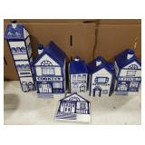 Ceramic Painted Labeled Kitchen Jars and Trivet