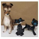Ceramic Glazed Dog and Ceramic Glazed Cats w/